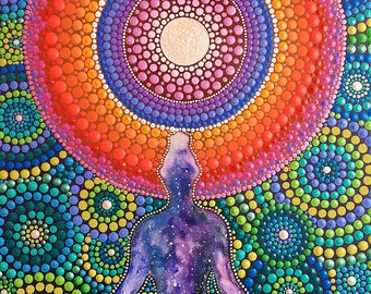 Meditating for the Universe Mandala Painting Original | Hand Painted Dot Art | Dot Painting | InspiredHeartArt | Inspired Heart Art | Yoga