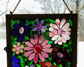 Stained Glass Mosaic - Garden of Pink & Purple Gemstone Flowers