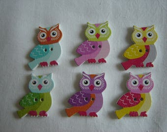 6 buttons wood OWL / / 25 x 20 mm