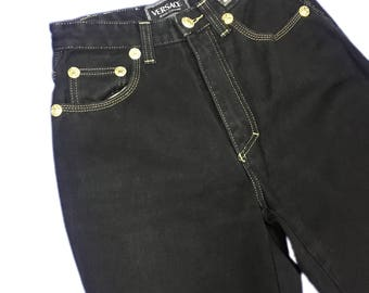 Versace Jeans Couture Black Denim Highwaist Tapered Leg with Gold Seam size 29/43