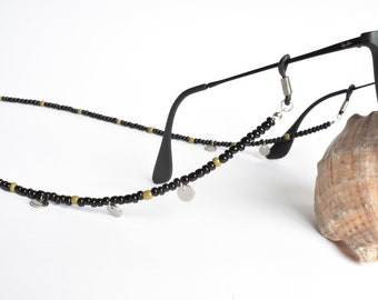 sunglasses cord | back and green | silver coins | sunglass necklace | Boho Duck