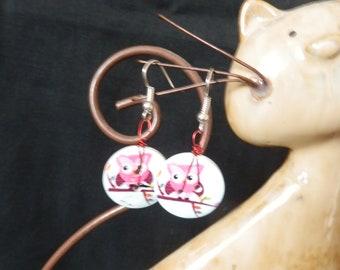 OWL button earrings