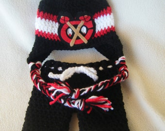 Crocheted Blackhawks Hat & Short Pants Set These Are Made to Order