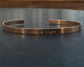 Love & Light | 5mm 14k Rose Gold Filled Stamped Cuff Layering Bracelet