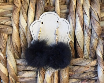 Black fur pom pom earrings with gold chain and gold french hook