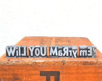 Will you marry me - Vintage letterpress - Valentine's day gift - unique engagement, marriage proposal, unique wedding - TS1004