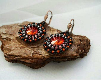 Free Shipping Red and black earrings, Crystal Earrings, Seed bead earrings, Beaded earrings , Elegant stud earrings, Crystal  Jewelry