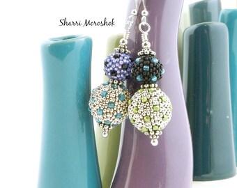Polka Dot Beaded Bead Earrings by Sharri Moroshok