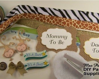 DIY Mommy To Be And Daddy To Be Badge Kit Make Your Own Baby Shower Corsage