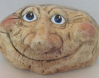 Ceramic Garden Rock ~ grinning ~