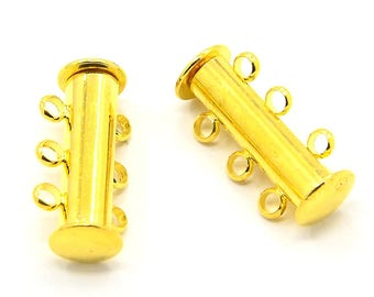 Magnetic sliding magnetic clasp 3 rows Golden 20x10mm