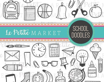 Hand Drawn School Doodles, Back to School Clipart, School Clipart, School Icons, Classroom Clipart, Classroom Icons, Globe Backpack Pencil