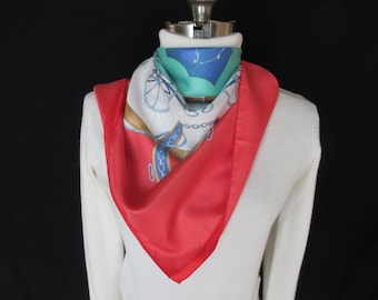 Women's Scarf with Equestrian Design, Vintage Women's Scarf with Horse Carriage and Motifs, Colorful Women's Western Wear Scarf