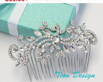 Father's Day Sale Wedding Hair Comb, Bridal Comb, Vintage Rhinestone Hair Comb Bridal Jewlery HC-11 Free US Shipping