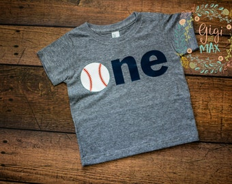 "Baby Boy first birthday Baseball shirt ""ONE"", baseball themed 1st birthday shirt, little boy birthday shirt baseball shirt baby birthday tee"