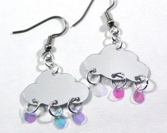 Rain Cloud Earrings Raindrop Earrings Silver & Clear Confetti Dangles Plastic Sequin Jewelry