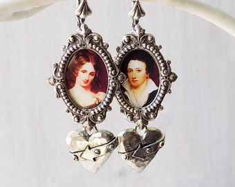 Frankenstein earrings, Percy and Mary Shelley, Monster earrings, Haunted weekend, Byron Shelley, literature jewelry, monster jewelry, gift