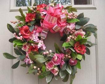 Door Wreath, Shades of Pink Front Door Wreath for Valentines Day