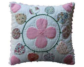 Appliqué Quilt Block Pillow - Pink Chenille - Country Chic