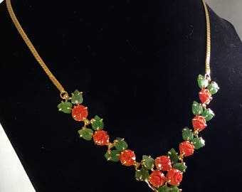 Vintage Tested 9k Gold Carved Red Mediterranean Coral Flower & Green Jadeite Necklace
