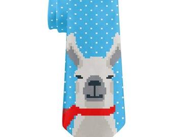 Winter Pixelated Llama All Over Neck Tie
