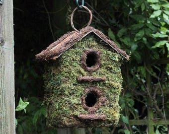 Rustic Moss 2 Holed Bird House / Bird Feeder