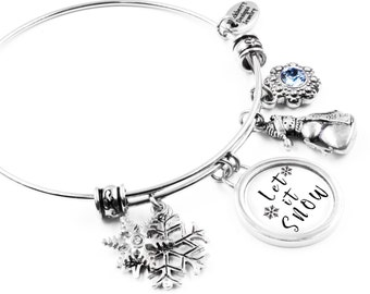 Snowman Bangle Bracelet with Snowflake Charms, Snowman Charm and Sapphire Crystal