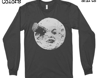 A Trip to the Moon Longsleeves T-shirt, Tee, American Apparel, Georges Méliès, Melies, Director, A Trip to the Moon, Cinema, Film, Cute Gift