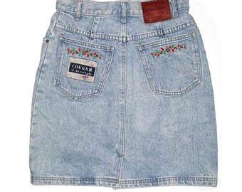 Vintage Boho Embroidred Denim Skirt High Waist
