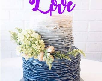 "Free Shipping 7"" Love Wedding Cake Topper Love Anniversary Cake Topper Love Cake Topper Love Bridal Shower Cake Topper Love baby shower cake"