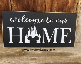 Welcome to our HoME with DiSNEY CaSTLE - Mickey Ears, Tinkerbell, DisneyLand, DisneyWorld, Disney Lover wood decor