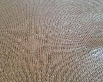 Beige jersey knit lurex silver viscose polyamide lurex thread