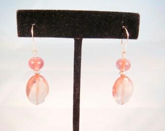 Sterling Silver Light Purple Glass Beaded Earrings