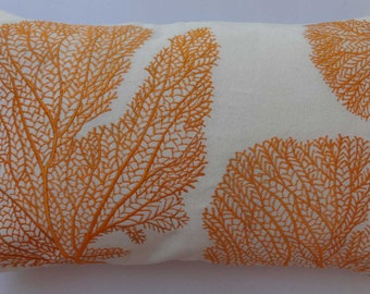 Orange coral fans pillow. fan embroidered on off white pillow. coastal , sea, nautical pillow. Beach pillow cover. can be customized. 12x 20