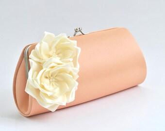 Peach - Ivory - Bridal Clutch / Bridesmaid Clutch - Custom color