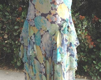 """1928/1931 Era """" Model A"""" Floral Print Silk Chiffon Party Gown/Dress with Slip Size 6/8  Item # 321 Gowns/ Dresses"""