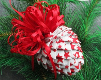 Fabric Pinecone Ornament - Red Stars on Silver/White Fabric - Christmas Ornament, Stocking Stuffer, Co-Worker Gift, Ornament Exchange Gift
