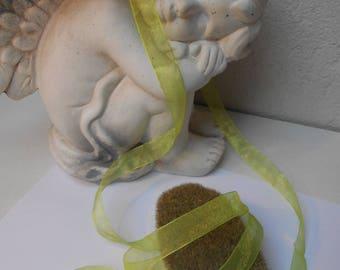 1 meter - lime green organza Ribbon 17 mm
