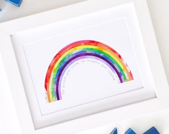 Rainbow Baby Nursery Print - Bold Bright Watercolour Cute Wall Art - A4 or 8x10 Inches