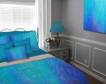 Duvet Cover, Queen King Full Twin, Abstract art, Jewel tone, Master bedroom decor, Aqua Teal cobalt blue purple, Designer bedding set