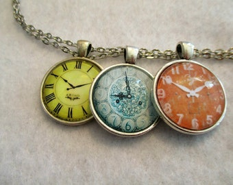 Set of 3 Cabochon PENDANTS with Necklace *** CLOCK Faces VERY Steampunk