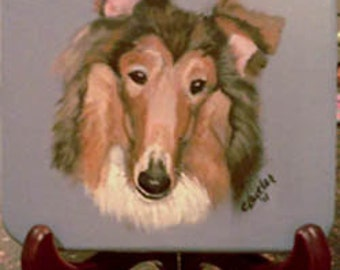 Collie portrait, pet portrait on 5 x 5 disk, small pet portrait on easel, pet memorial disk with handpainted portrait of pet