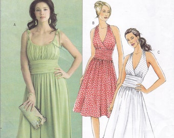 FREE US SHIP Butterick 5029 Sewing Pattern  Summer Halter Ruched Bodice Midriff Dress  Size 8 10 12 14 Bust 31.5 32.5 34 36 Factory Folded