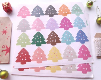 """20 stickers """"Christmas trees"""" multicolored"""