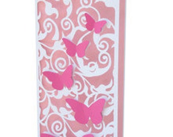 Butterflies and Flowers Long Card , 3D , Blank inside  , Spring , Elegant , Birthday , Just Because
