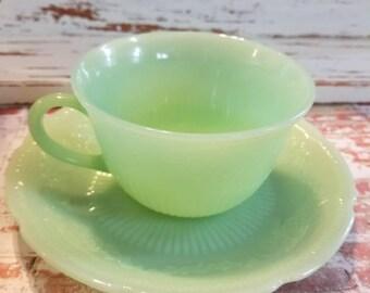 Jadeite, Fire King, Anchor Hocking, Jadeite, jadite, Alice jadeite cup & saucer set. green jadeite milk glass, vintage made in the USA 1945