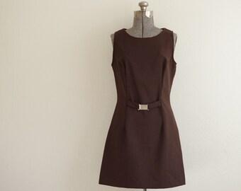 1990s R-Wear Rampage Clothing Co. Brown Sleeveless Sheath Dress Size 9 | Style 97891X