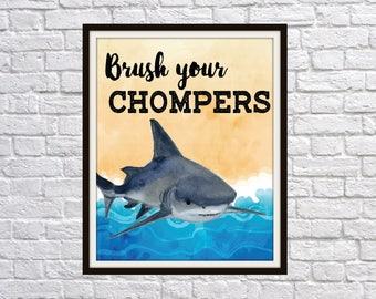 Brush your Chompers Shark watercolor themed bathroom beach ocean art bathroom decor, bathroom wall decor