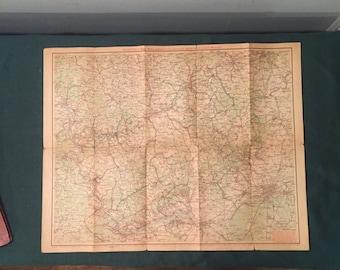 Antique Ravenstein's Map of Germany  - Taunus, Lahntal, Westerwall Regions -