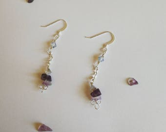 February birthstone earrings amethyst gift for her sterling silver aquarius gift